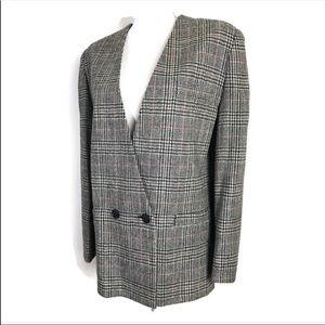 Vintage Plaid Wool Blazer two Button